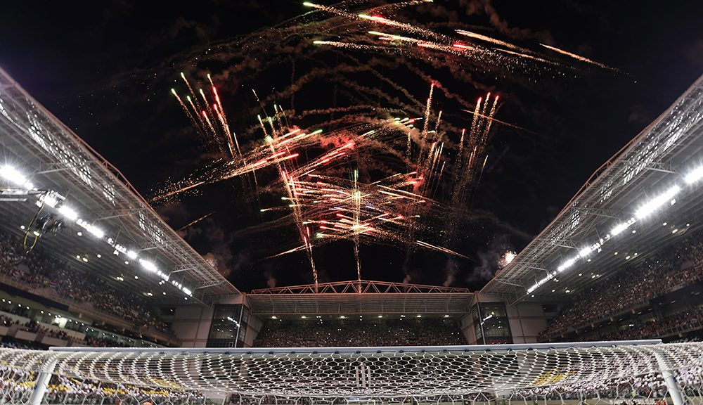 View of fireworks during the 2016 Libertadores Cup match between Atletico Mineiro and Sao Paulo at the Independencia Stadium in Belo Horizonte, Brazil on May 18, 2016.  / AFP / DOUGLAS MAGNO        (Photo credit should read DOUGLAS MAGNO/AFP/Getty Images)