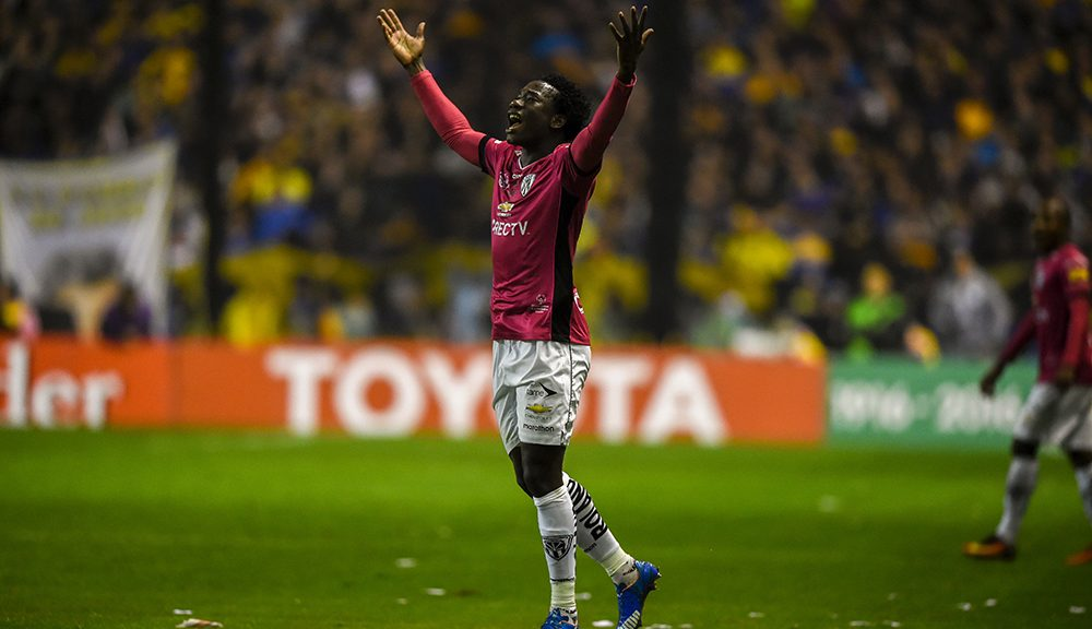 "Ecuador's Independiente del Valle defender Luis Caicedo celebrates after scoring against Argentina's Boca Juniors during their Libertadores Cup second leg semifinal match at the ""Bombonera"" stadium in Buenos Aires, Argentina, on July 14, 2016. / AFP / EITAN ABRAMOVICH        (Photo credit should read EITAN ABRAMOVICH/AFP/Getty Images)"